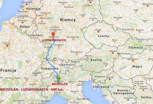 Trasa przejazdu relikwii św. O.Pio w dniu 4.02.2016. Mediolan - Ludwigshafen - 600 km.