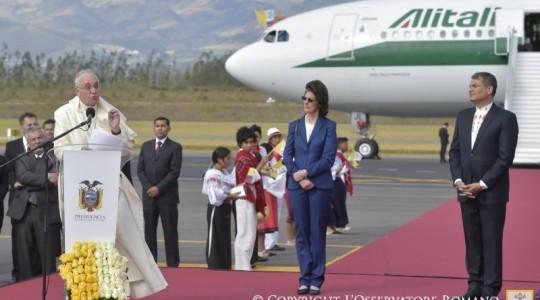 Ojciec Święty rozpoczął pielgrzymkę do Ameryki Łacińskiej - przemówienie Papieża Franciszka wygłoszone podczas ceremonii powitania w Ekwadorze