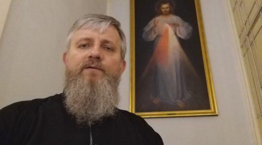 Przed wizerunkiem Jezusa Miłosiernego w Bazylice św. Piotra (19.04.2019)