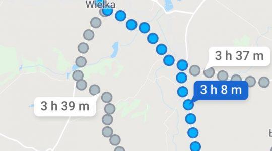 Trasa w ósmym dniu pieszej pielgrzymki księdza Jarka 26.05.2019